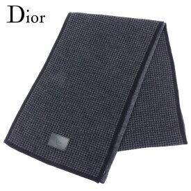 【中古】 ディオール オム マフラー 千鳥柄 ブラック グレー 灰色 ウール100% Dior Homme 【ディオール】 T8147 ブランド