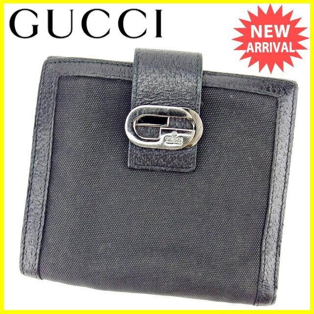 グッチ GUCCI Wホック財布 二つ折り財布 メンズ ダブルG ブラック×シルバー キャンバス×レザー 人気 セール 【中古】 Y7068