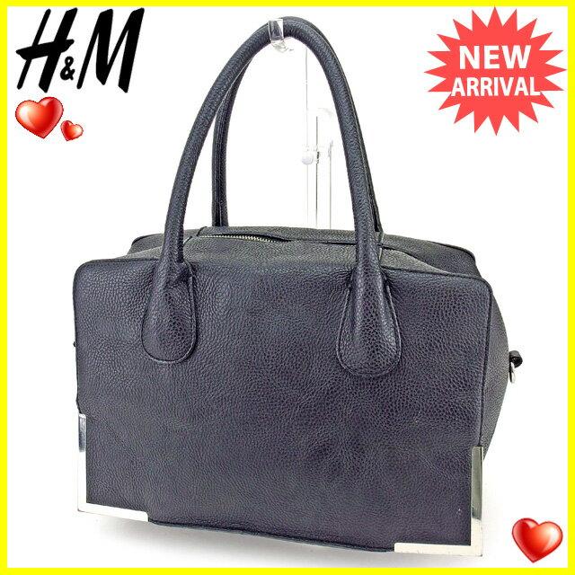 H&M ハンドバッグ レディース 角プレート ブラック×シルバー 合皮 人気 【中古】 Y7076