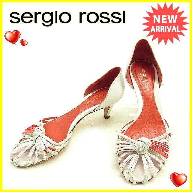 セルジオロッシ Sergio Rossi パンプス シューズ 靴 レディース ♯34ハーフ セパレート ホワイト×レッド レザー 人気 セール 【中古】 Y6851