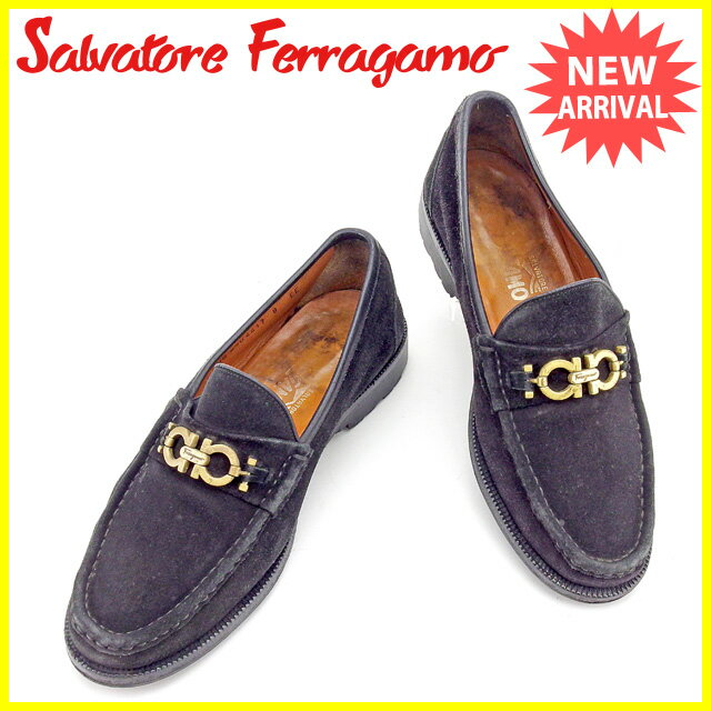 サルヴァトーレ フェラガモ フェラガモ Salvatore Ferragamo ローファー 靴 シューズ #8 メンズ ガンチーニ ブラック×ゴールド スエード 人気 セール 【中古】 T1778
