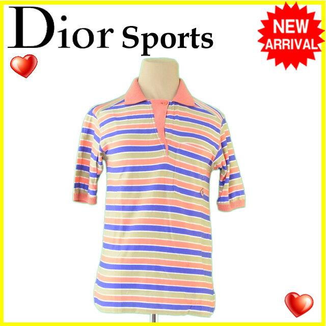 【送料無料】 ディオール スポーツ Dior Sports ポロシャツ カットソー レディース ボーダー オレンジ×パープル系 綿/85%アクリル/15%(別布)綿/50アクリル/45%ナイロン/5% 人気 【中古】 C2513