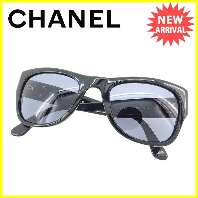 シャネル CHANEL サングラス メガネ ココマーク ウエリントン型 ブラック×ゴールド プラスティック×ゴールド金具 人気 セール 【中古】 Y6328