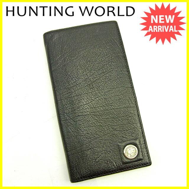 【中古】 【送料無料】 ハンティングワールド HUNTING WORLD 長財布 ファスナー 二つ折り レディース エレファントマーク ブラック×シルバー 良品 Y3628s