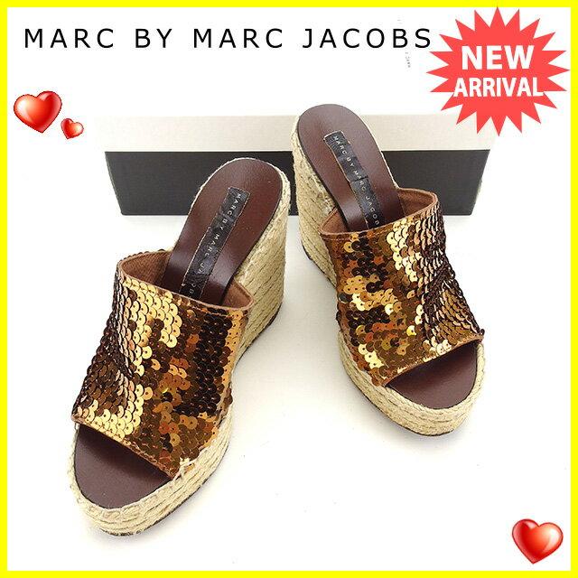 マークジェイコブス MARC JACOBS サンダル #36 レディース ブラウン スパンコール×麻×レザー 人気 セール 【中古】 Y6069