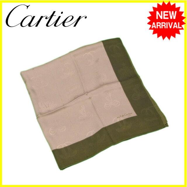 【中古】 【送料無料】 カルティエ Cartier スカーフ 大判サイズ レディース メンズ 可 2Cモチーフ ベージュ×カーキ SILK/100% 良品 Y6237