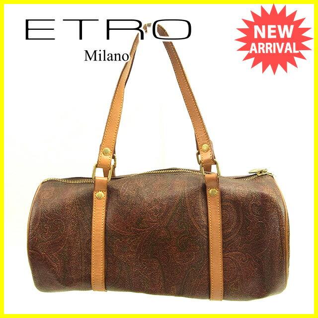 【送料無料】 エトロ ETRO ハンドバッグ 筒型バッグ レディース ペイズリー ブラウン系×ベージュ×ゴールド PVC×レザー (あす楽対応)激安 セール【中古】 D1434