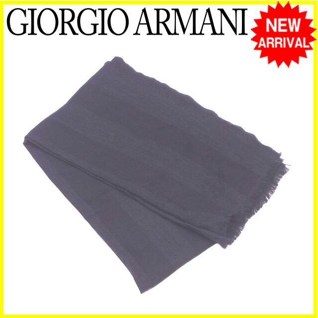 ジョルジオ アルマーニ GIORGIO ARMANI マフラー フリンジ付き メンズ ストライプ ブラック ウール/100% 良品 【中古】 L1198