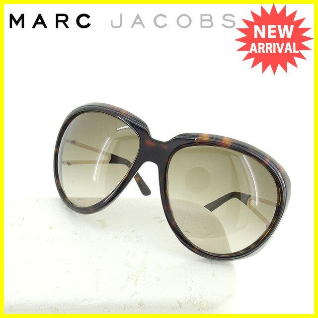 マークジェイコブス MARC JACOBS サングラス メガネ レディース オーバル型 べっ甲柄 ブラウン×ゴールド プラスティック×ゴールド金具 人気 セール 【中古】 K431