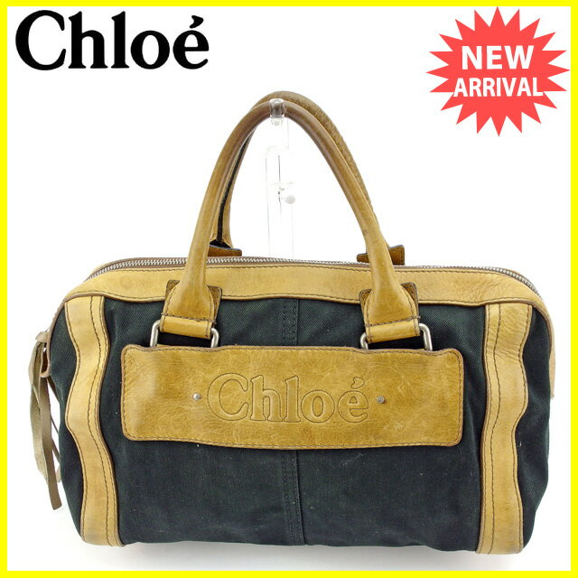 クロエ Chloe ボストンバッグ ハンドバッグ メンズ可 ロゴ ブラック×ベージュ×シルバー キャンバス×レザー 人気 【中古】 L1159