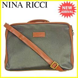 Nina Ricci商務包2WAY肩膀棕色×黑色L1483s
