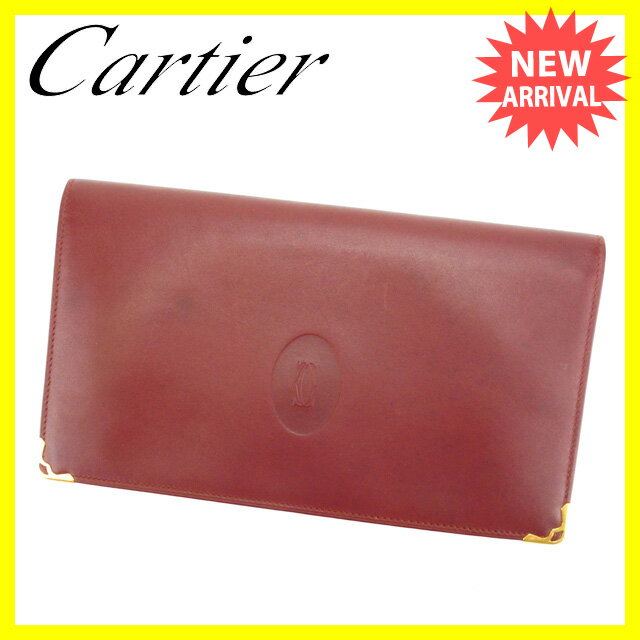 【送料無料】 カルティエ Cartier 長財布 がま口 二つ折り メンズ可 角プレート付き マストライン ボルドー×ゴールド レザー (あす楽対応) 人気 【中古】 H331