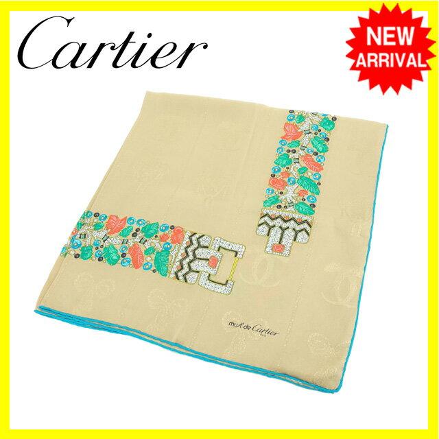 【中古】 【送料無料】 カルティエ Cartier スカーフ 大判サイズ レディース マストライン ベージュ×ブルー系 SILK/100% (あす楽対応)良品 Y4011