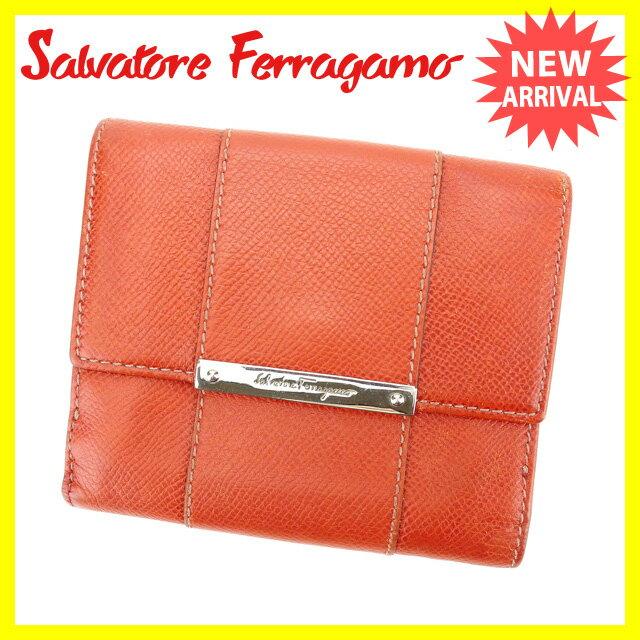 サルヴァトーレフェラガモ Ferragamo Wホック財布 二つ折り コンパクトサイズ メンズ可 オレンジ×シルバー レザー (あす楽対応)人気 セール【中古】 L669
