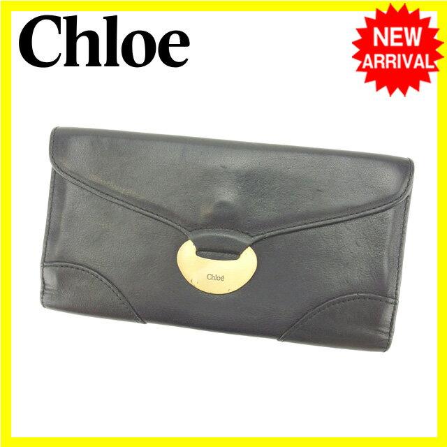 クロエ Chloe 長財布 Wホック 男女兼用 ブラック レザー (あす楽対応)人気 【中古】 L893
