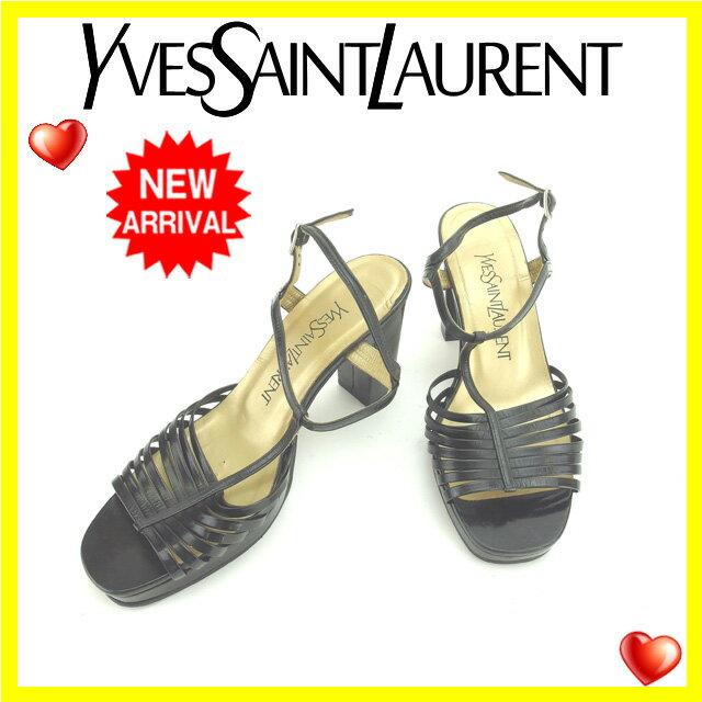 イヴサンローラン YVES SAINT LAURENT サンダル シューズ 靴 レディース ♯36 チャンキーヒール Tストラップ ブラック×ゴールド レザー (あす楽対応)【中古】 S156
