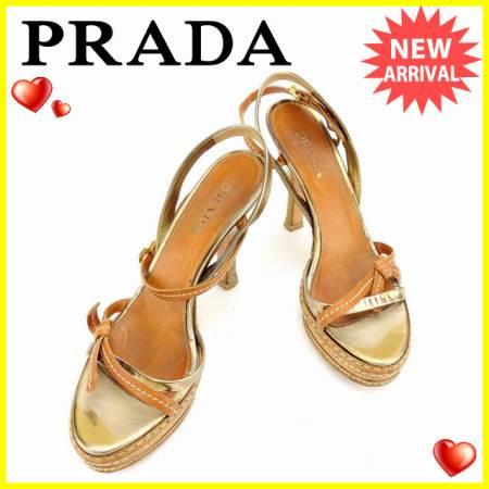 【送料無料】 プラダ PRADA サンダル シューズ 靴 レディース ♯38 クロスデザイン ベージュ×ゴールド レザー 人気 【中古】 C2471