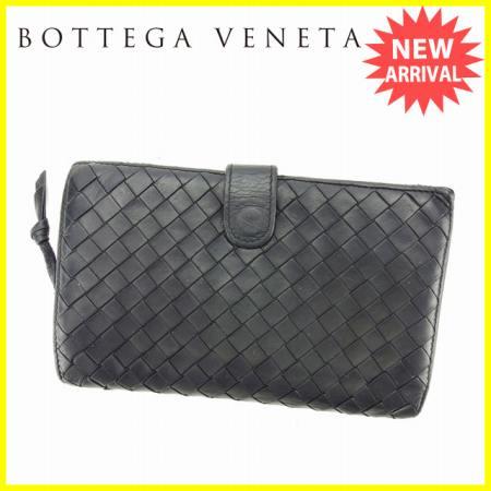 【送料無料】 ボッテガヴェネタ BOTTEGA VENETA ラウンドファスナー財布 二つ折り財布 レディースメンズ可 イントレチャート 114074 ブラック レザー (あす楽対応) 人気 【中古】 S293