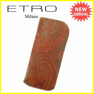 에트로 ETRO 메가네케이스레디스페이즈리브라운계 PVC×레더 우량품 L1046