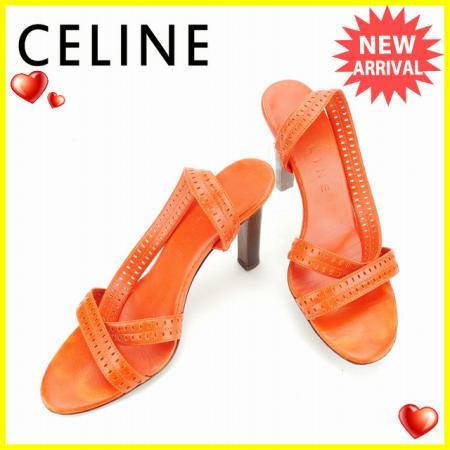 【送料無料】 セリーヌ CELINE サンダル #35 1 2C レディース オレンジ レザー (あす楽対応)良品 人気 【中古】 D1548