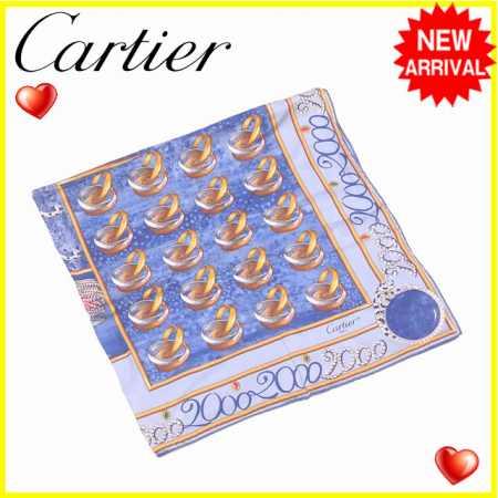 【中古】 【送料無料】 カルティエ Cartier スカーフ 大判サイズ レディース ジュエリー ブルー×イエローゴールド系 SILK/100% 人気 L977