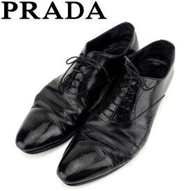 3fdc86b5dd03 中古 【中古】 プラダ PRADA シューズ ビジネス 靴 メンズ ♯6ハーフ レースアップ ストレートチップ ブラック レザー 訳あり セール  C3435