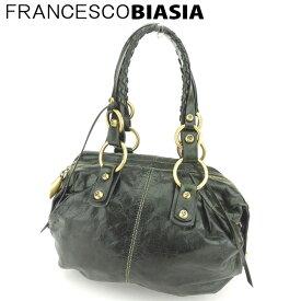 【中古】 フランチェスコビアジア ボストンバッグ ショルダーバッグ ゴールドリング レザー グリーン ゴールド FRANCESCO BIASIA C3439