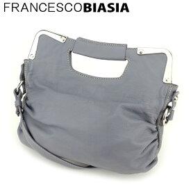 【中古】 フランチェスコビアジア 2WAY ショルダーバッグ ハンドバッグ サイドギャザー レザー グレー 灰色 シルバー FRANCESCO BIASIA C3457