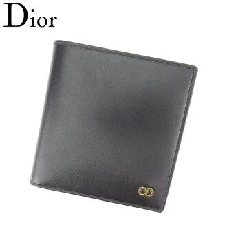 Dior Dior folio wallet men CD mark black gold leather-free article sale T8613