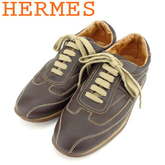 Hermes HERMES sneakers shoes shoes men ♯ 41 low-frequency cut quick brown beige leather popularity sale T8617