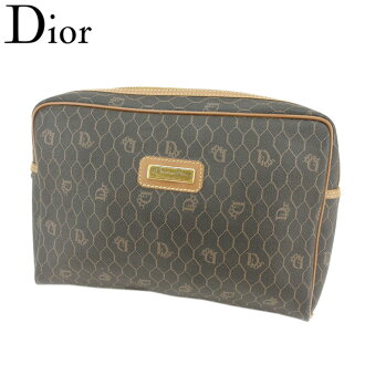Dior Dior clutch bag second bag Lady's men old Dior logo pattern black brown gold PVC X leather discontinuance of making popularity T8620