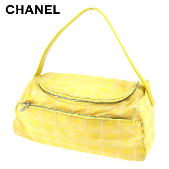 Chanel CHANEL バニティハンドバッグ makeup porch Lady's current style bell line yellow canvas X leather vintage popularity T8796