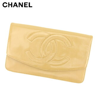 Long wallet Lady's lambskin beige leather vintage popularity T8809 with the Chanel CHANEL long wallet fastener