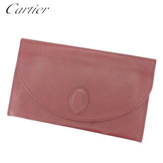 Cartier Cartier clutch bag second bag Lady's men mast line Bordeaux leather popularity quality goods T8811