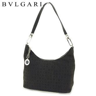 Bulgari BVLGARI shoulder bag one shoulder Lady's logo enthusiast black canvas X leather popularity sale T8813