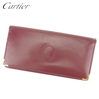 Long wallet Lady's men mast line Bordeaux leather popularity sale T8817 with the Cartier Cartier long wallet fastener