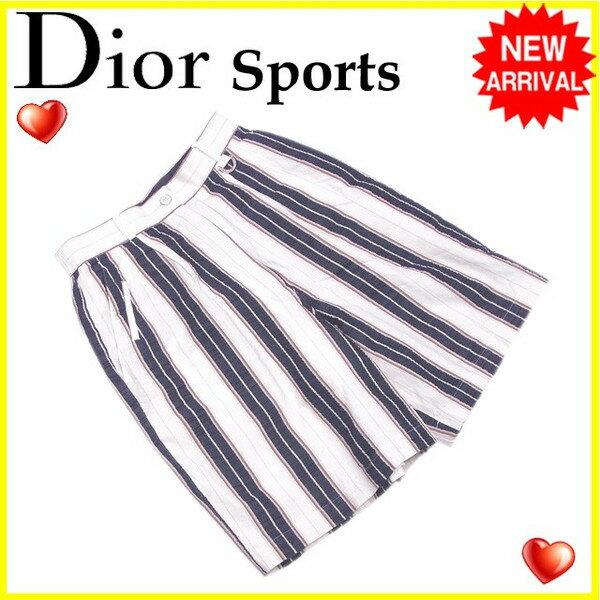 【送料無料】 クリスチャンディオールスポーツ Christian Dior Sports パンツ ハーフ レディース ♯Mサイズ ストライプ ホワイト×ネイビー系 綿/100%(裏地)ポリエステル/100% (あす楽対応)【中古】 G946