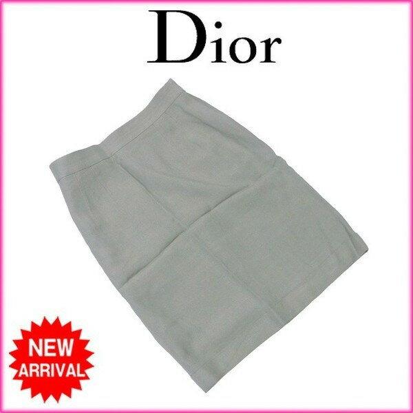 【送料無料】 クリスチャン ディオール Christian Dior スカート 裾折り返し レディース ♯Lサイズ タイト グリーン 人気 【中古】 L2110