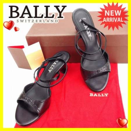 バリー BALLY サンダル シューズ 靴 レディース ♯35EU・4ハーフUS アンクルストラップ ブラック×シルバー レザー (あす楽対応)良品 【中古】 Y3351 .