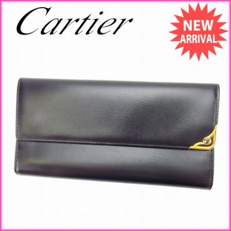 カルティエ Cartier 長財布 がま口 三つ折り メンズ 角プレート付き ブラック×ゴールド×ブルー レザー (あす楽対応)未使用 セール【中古】 L468