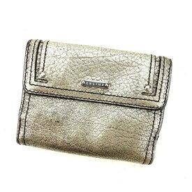 【中古】 セリーヌ Wホック財布 さいふ 二つ折り財布 さいふ ロゴプレート ライトゴールド×シルバー系 CELINE ホックサイフ ホック財布 さいふ 財布 さいふ サイフ 財布 さいふ ユニセックス 小物 1点物 A1038