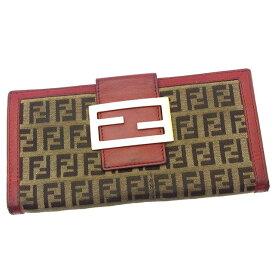 【中古】 フェンディ 長財布 さいふ Wホック 二つ折り FFプレート付き ズッキーノ カーキ×ブラウン×レッド系 FENDI A866 ブランド