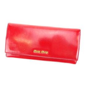 【中古】 【送料無料】 ミュウミュウ miumiu 長財布 メンズ可 レッド PVC×レザー (あす楽対応) A938s