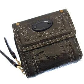 【中古】 【送料無料】 ( 美品 ・即納) クロエ Chloe 二つ折り財布 ラウンドファスナー メンズ可 グレイ エナメルレザー B372s