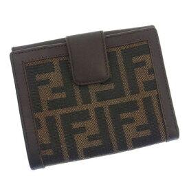 【中古】 フェンディ Wホック財布 さいふ 二つ折り ズッカ カーキ×ブラック×ダークブラウン FENDI ホックサイフ ホック財布 さいふ 財布 さいふ サイフ 財布 さいふ ユニセックス 小物 1点物 【フェンディ】 B676