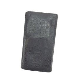 ad441384ec66 【中古】 【送料無料】 ブルガリ 長札入れ 二つ折り メンズ ロゴ ブラック Bvlgari
