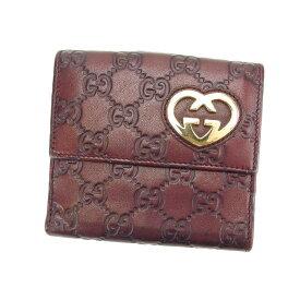 1aa2b640f7e4 【中古】 グッチ Gucci Wホック財布 財布 二つ折り コンパクトサイズ ダークパープル×