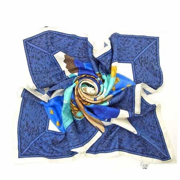 【中古】 【送料無料】 クリスチャン・ディオール Christian Dior スカーフ グローブ ブルー×ブラウン 100%シルク C311s
