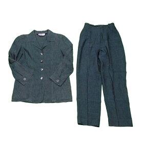 【中古】 【送料無料】 マックスマーラ スーツ センタープレスパンツ レディース ウィークエンドライン ジャケット グリーン LINO/55%ACETATO/45% Max Mara C3120