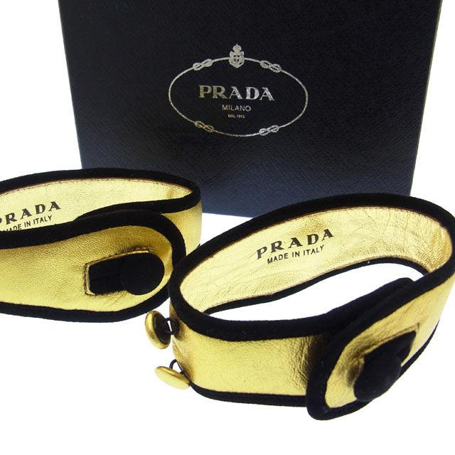 【中古】 【送料無料】 プラダ ブレスレット レディース ブラック×ゴールド Prada C567